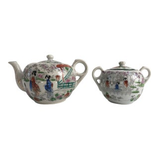 Chinoiserie Kutani Porcelain Teapot & Bowl - Set of 2 For Sale