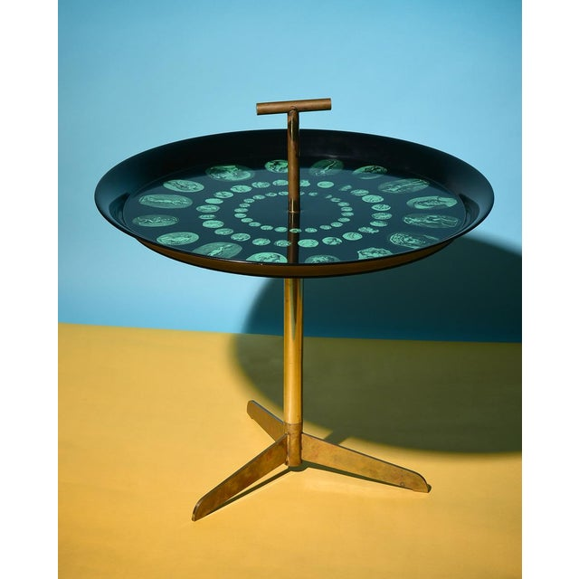 Early Piero Fornasetti Side Table Italy, 1950s Removable handle, serving tray Brass, enameled metal Early marking to...