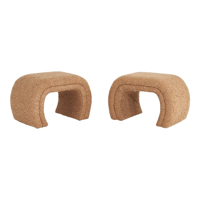 Vladimir Kagan for Directional, Waterfall Stools in Tan Boucle, 1990 For Sale
