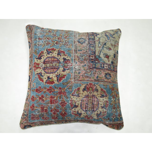 Pillow made from a antique persian tabriz rug with cotton back. Zipper closure and foam insert provided. 22'' x 23''