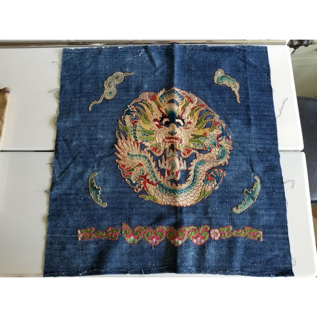 1920s Antique Chinese Opera Robe Pillow Fabric For Sale - Image 5 of 5