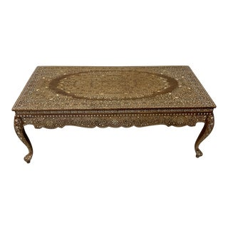 Anglo Indian Bone Inlay Coffee Table For Sale