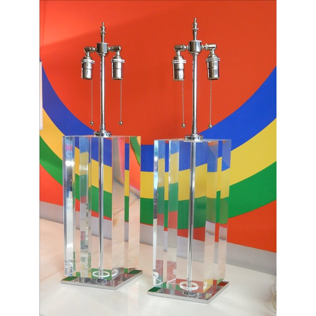 Chrome Pair of Massive Lucite Lamps, 1970s For Sale - Image 7 of 11