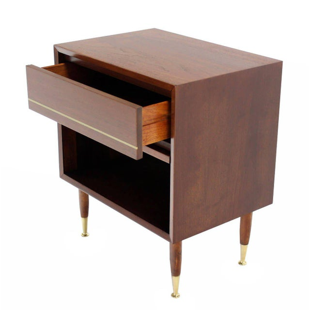 Pair of Danish Modern One Drawer Night Stands Brass Tip Legs Cube Shape For Sale In New York - Image 6 of 6