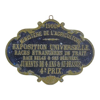 Antique Paris Horse Show Award Plaque For Sale