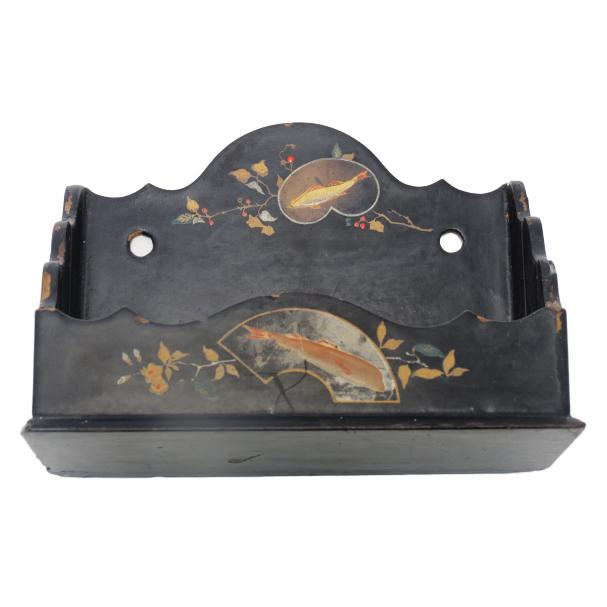 One of a kind antique hand painted wall box from the early 1900's. Painted black with beautifully detailed fish, birds and...
