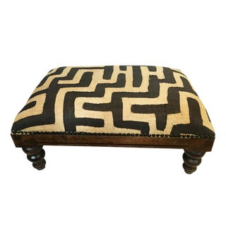 African Kuba Applique Textile Low Stool