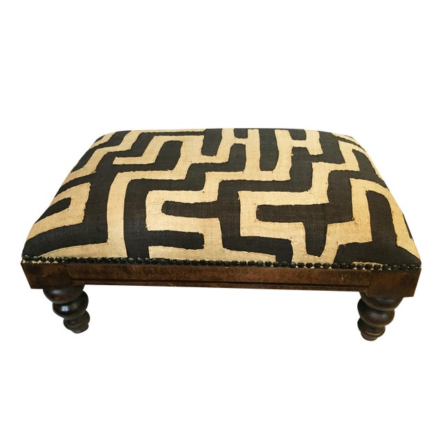 African Kuba Applique Textile Low Stool For Sale