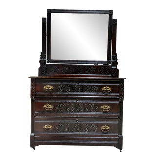 Antique Eastlake Victorian Country Farmhouse Carved Walnut Mirrored Dresser For Sale