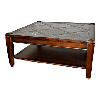 Vintage Solid Wood Coffee Table W/Marble Top For Sale
