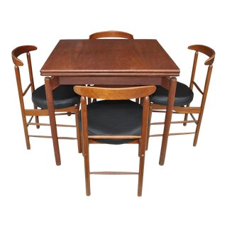 1960s Vintage Greta Grossman Teak Expandable Dining Table and Chairs - 5 Pieces For Sale
