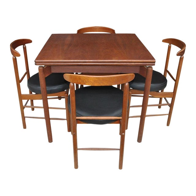 1960s Vintage Greta Grossman Teak Expandable Dining Table And Chairs