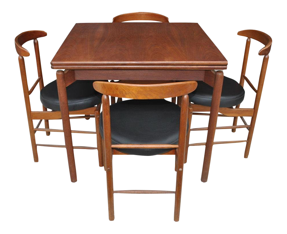 1960s Vintage Greta Grossman Teak Expandable Dining Table And Chairs   5  Pieces