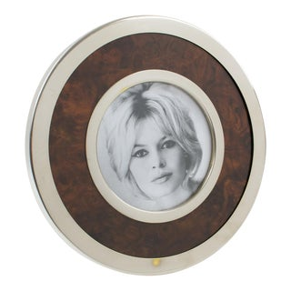 Gucci Style 1970s Silver Plate and Wood Round Picture Photo Frame For Sale