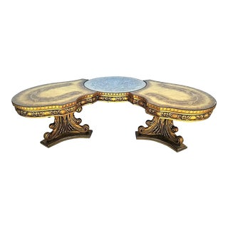 Vintage 1960's French Provincial Carved Wood & Glass Top Coffee Table For Sale