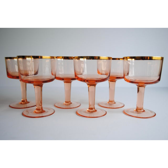 Mid-Century Pink & Gold Cocktail Glasses - Set of 8 - Image 7 of 7