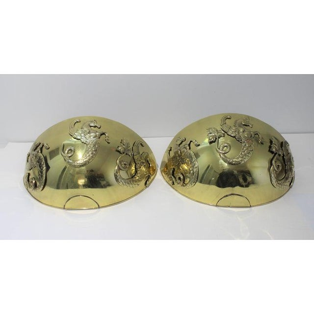Hollywood Regency Vintage 1920s Wall Mounted Cachepots Brass Hippocampus Myth Sea-Horse - a Pair For Sale - Image 3 of 13