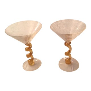 Union Street Gold Spiral Twist Stem Crackle Martini Glasses - A Pair For Sale