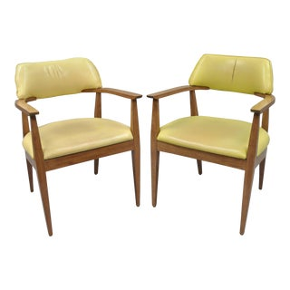 Vintage Mid-Century Modern Vinyl Office Arm Chairs- 2 pc.
