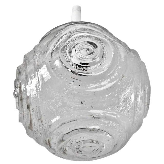Mid-Century Single Round Molded Glass Pendant Light For Sale
