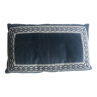 Strie Velvet Pillow With Trim For Sale