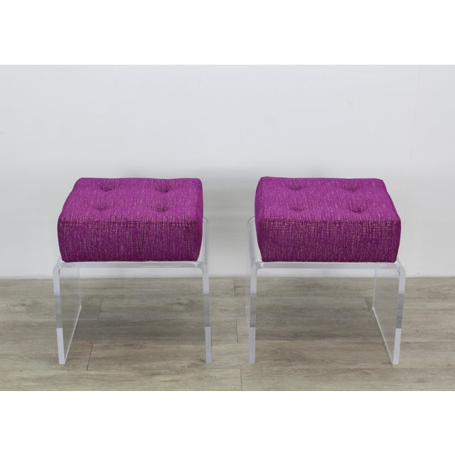 2010s Pair of Waterfall Acrylic & Chenille Benches For Sale - Image 5 of 6