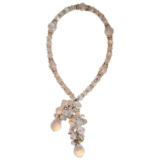 Francoise Montague Vintage Glass and Swarovski Crystal Lariat Necklace For Sale