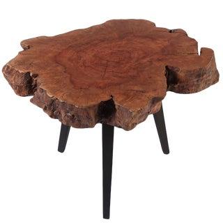 Organic Modern Reddish Brown Lychee Living Edge Side Table For Sale