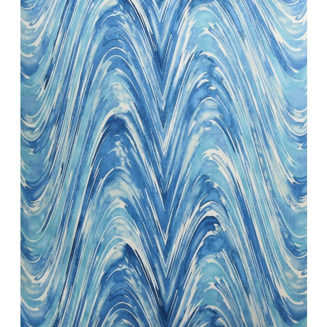 "Blue/White Marbleized Swirl Feather/Down Pillows 24"" Square - Pair For Sale - Image 4 of 13"