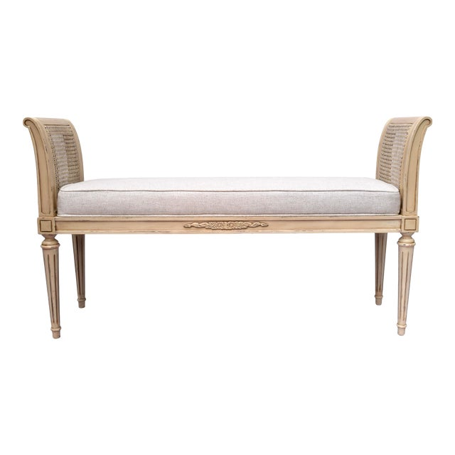 Vintage Louis XVI-Style Caned Scroll Arm Bench For Sale