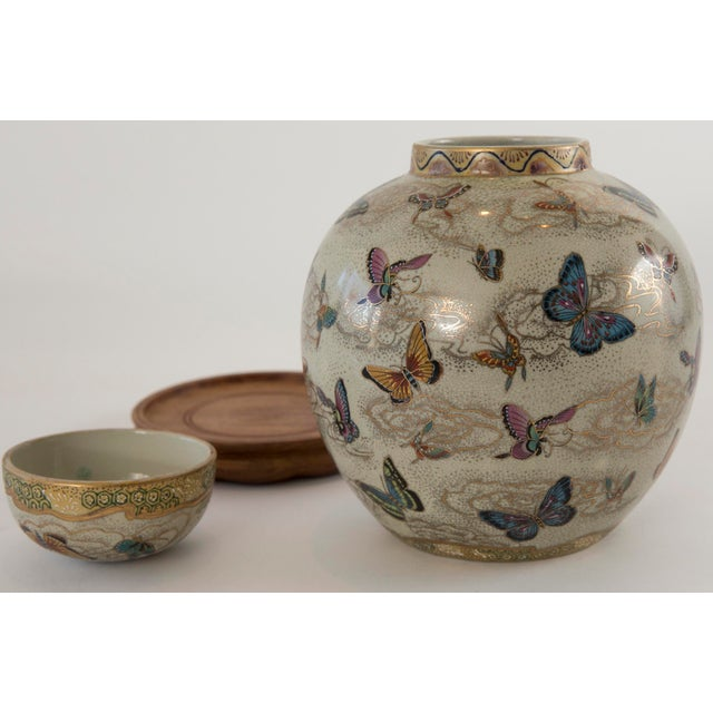 Japanese Satsuma Butterfly Ginger Jar on Stand For Sale - Image 9 of 11