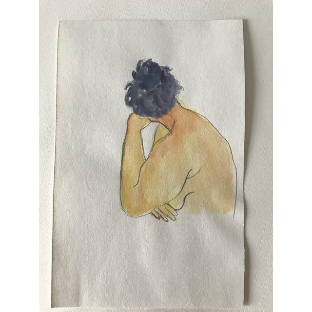 Contemporary 1980s Vintage Female Nude Watercolor Painting For Sale - Image 3 of 3