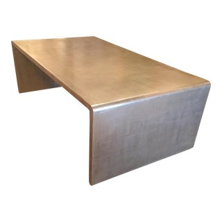 Very Chic Waterfall Coffee Table With Silver Leaf Finish in the Style of Jean Michel Frank For Sale