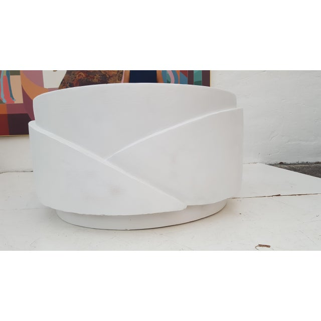 Sculptural Plaster Round Coffee Table For Sale In Miami - Image 6 of 11
