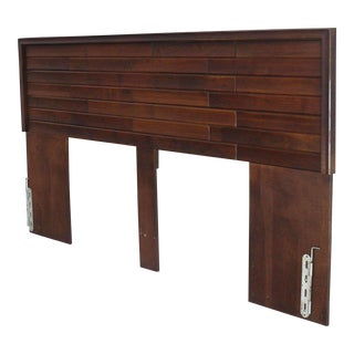 Sculptural Oiled Walnut Strips King-Size Headboard For Sale