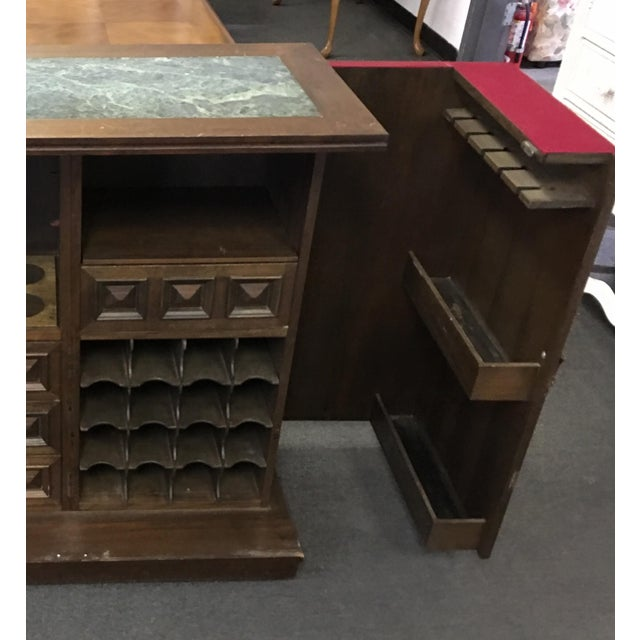 Asian Teak Marble Top Fold Out Bar For Sale - Image 9 of 11