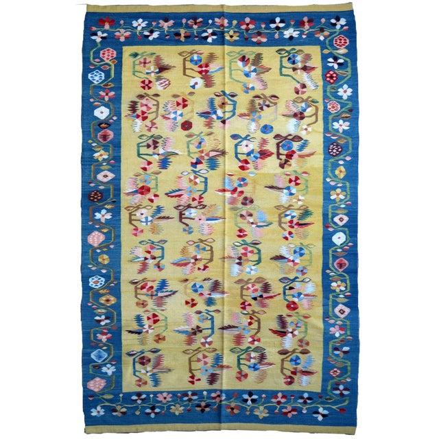 Textile 1950s, Handmade Vintage Romanian Bessarabian Kilim 5.1' X 8.5' For Sale - Image 7 of 7