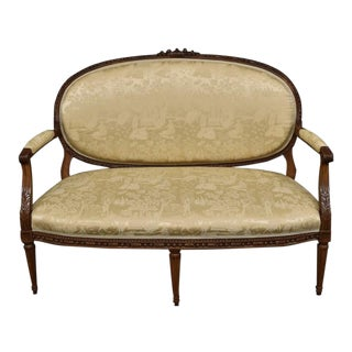 French 19th Century Louis XVI Carved Gold Oriental Chinoiserie Settee Loveseat For Sale