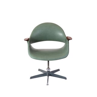 Arthur Umanoff Leather Swivel Chair For Sale