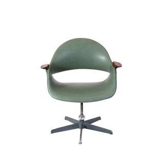Arthur Umanoff Leather Swivel Chair For Sale