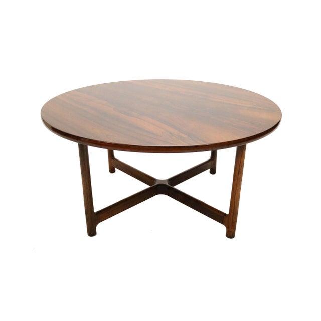 Wood Scandinavian Modern Arne Halvorsen for Rasmus Solberg of Norway Round Rosewood Coffee Table For Sale - Image 7 of 7