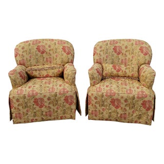Pair Thomasville Furniture Upholstered Living Room Club Armchairs For Sale