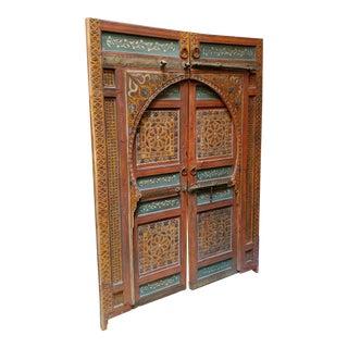 Vintage 1970s Moroccan Hand Painted Double Door For Sale