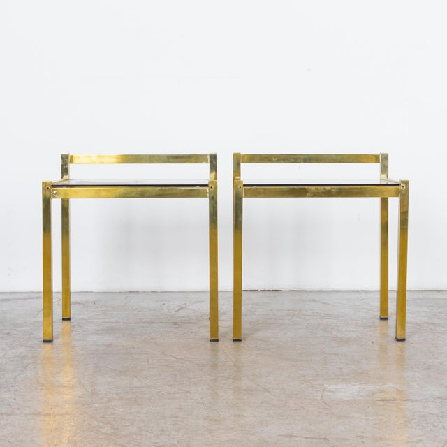 Stylish coffee table with glass top and brass-plated legs. A timeless combination, the optical properties of metal and...