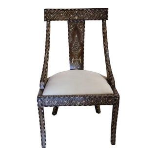 Wood and Bone Inlay Chair For Sale