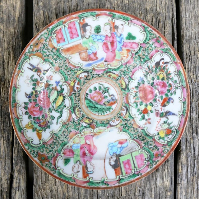 Antique Chinese Qing Rose Medallion Porcelain 6 Inch Plates Set of 4 For Sale - Image 12 of 13