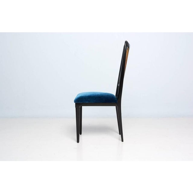 Mahogany Mahogany Table & Blue Velvet Dining Chair Set For Sale - Image 7 of 9
