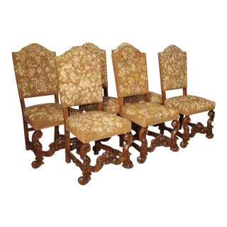 Set of 6 Carved Walnut Wood Dining Chairs From Lombardy, Italy, Late 19th Century For Sale