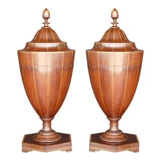 Pair of George III Mahogany Cutlery-Urns For Sale
