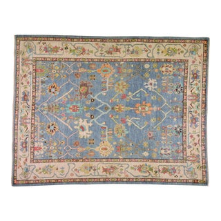 Traditional Turkish Blue and Beige Wool Oushak Rug For Sale